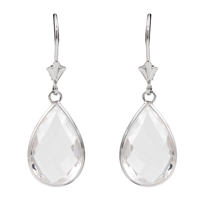 White Quartz Teardrop Earrings 14k White Gold - SBG Los Angele Jewelry Store