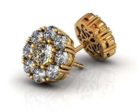 Florette Diamond Stud earrings Yellow Gold-SBG