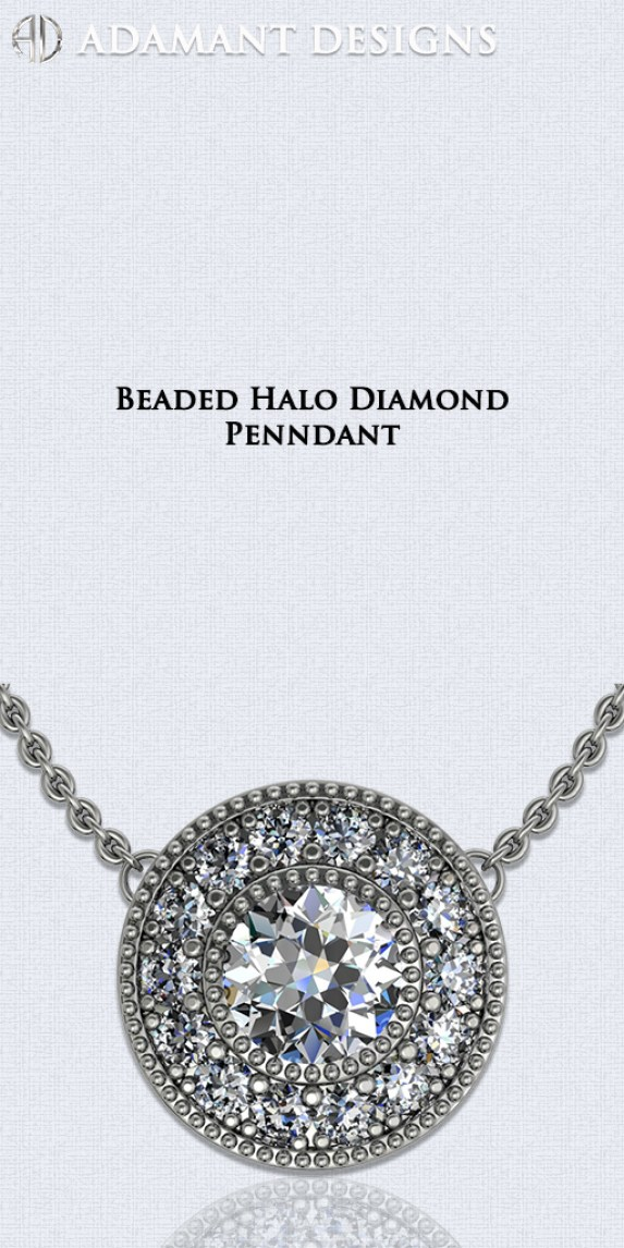 Beaded Halo Diamond Pendants - 310-791-5431