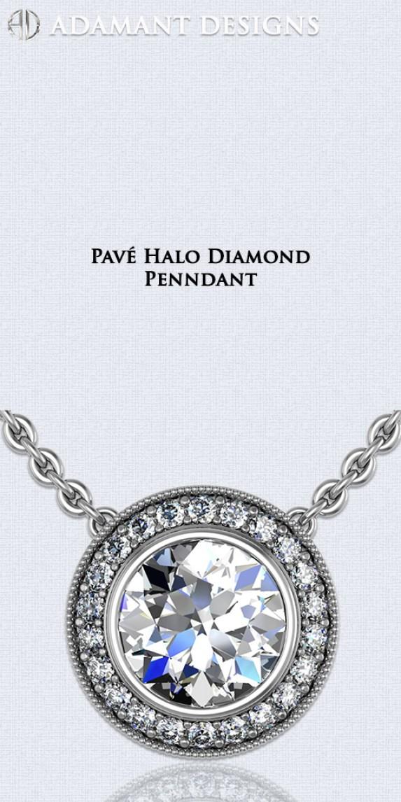 Modern Pavé Diamond HaloPendants - Hollywood