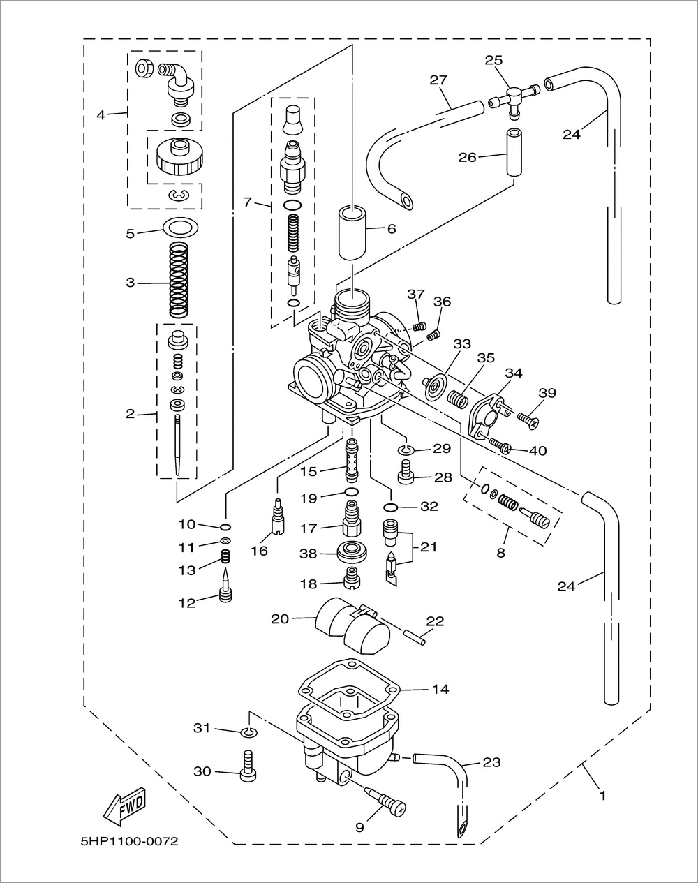 2007 yamaha ttr 125 carburetor diagram