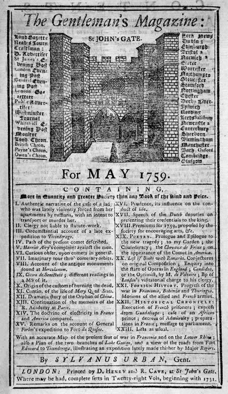 worlds first magazine 1731 the gentlemans magazine World firsts   Invention and discoveries