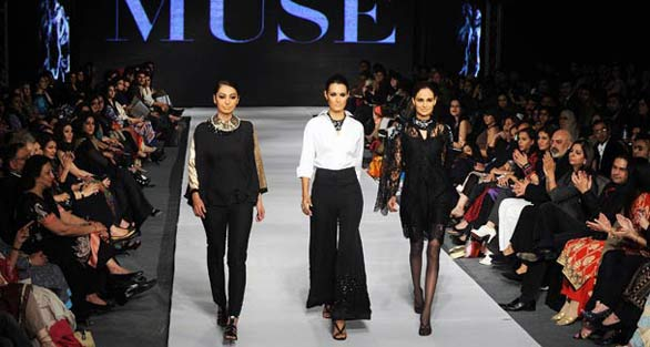 Models present creations by the Pakistan designer Muse PFDC Fashion Week in Lahore   Photo Gallery