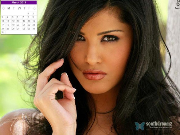 Sunny Leone Desktop Calendar March 2013 586x439 Sunny Leone calendar 2013 wallpaper
