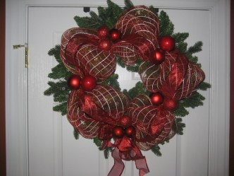 ribbon mesh wrapped wreath
