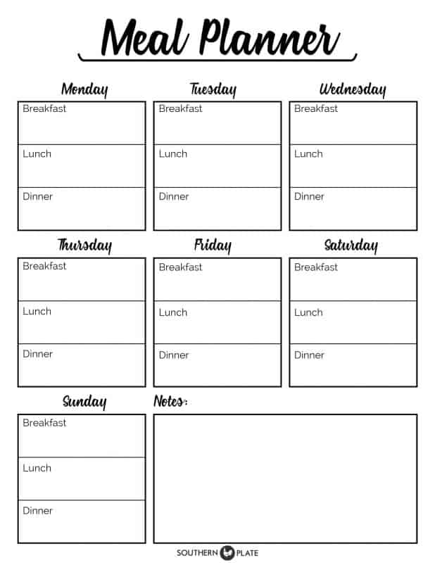 Free Printable Menu Planner Sheet - Southern Plate - basic meal planner