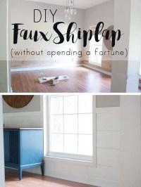 Installing DIY shiplap walls and farmhouse trim from wood ...