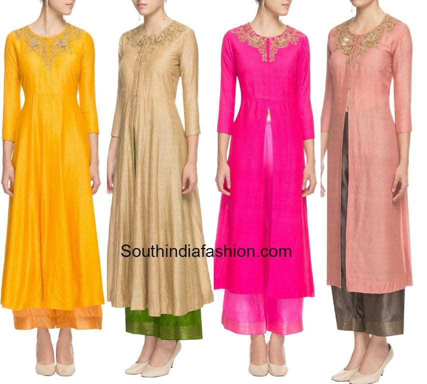 Front slit kurtas with palazzos south india fashion