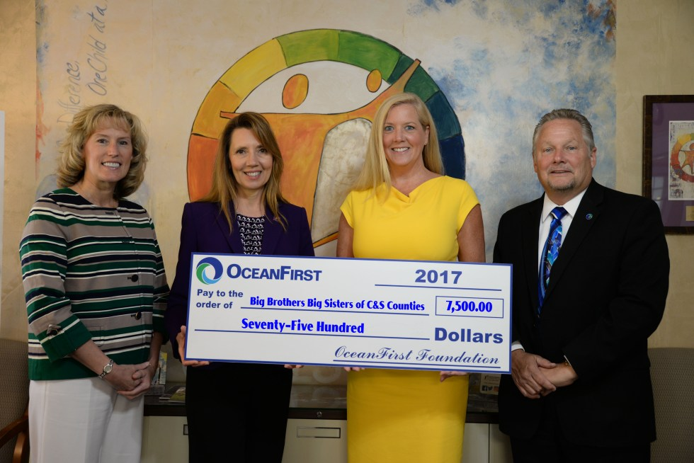 Caption: (left to right) Dawn Hunter, BBBS Board of Director; Donna Bennett, President/CEO BBBS; Katherine Durante, Executive Director of OceanFirst Foundation; and Ed Geletka, Senior Vice President of Gov. Banking & Comm. Relations from OceanFirst Bank
