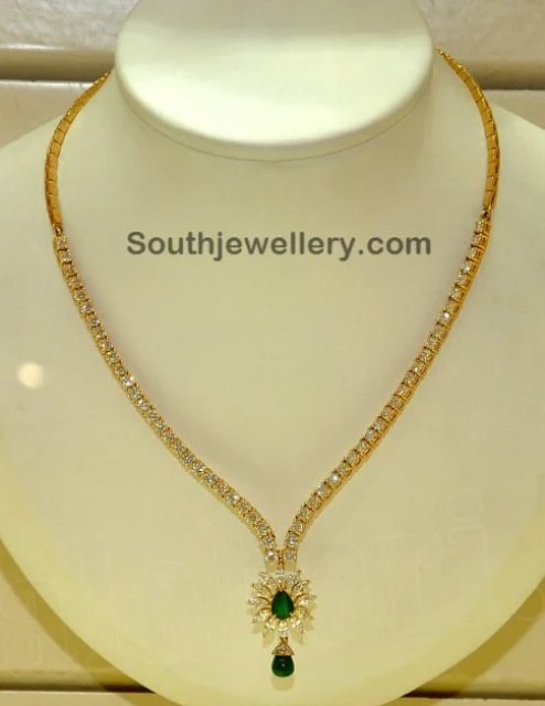 Simple and Elegant Diamond Necklace - Jewellery Designs