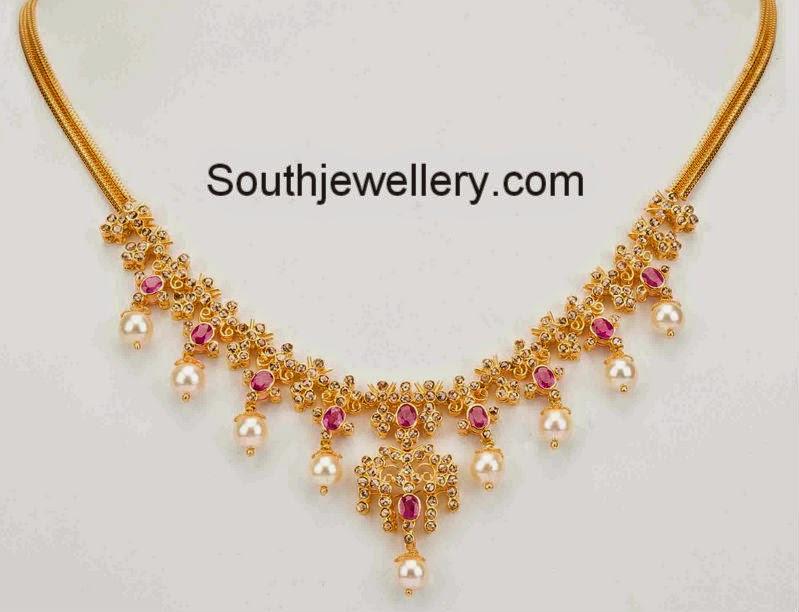 simple uncut diamond necklace jewellery designs