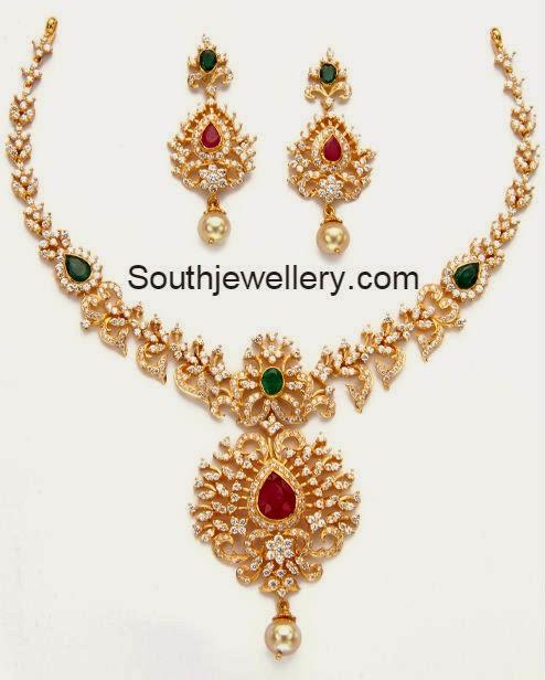 Beautiful South Indian Double Long Necklace Set: Beautiful CZ Stones Necklace Set