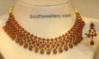 Floral Ruby Emerald Necklace