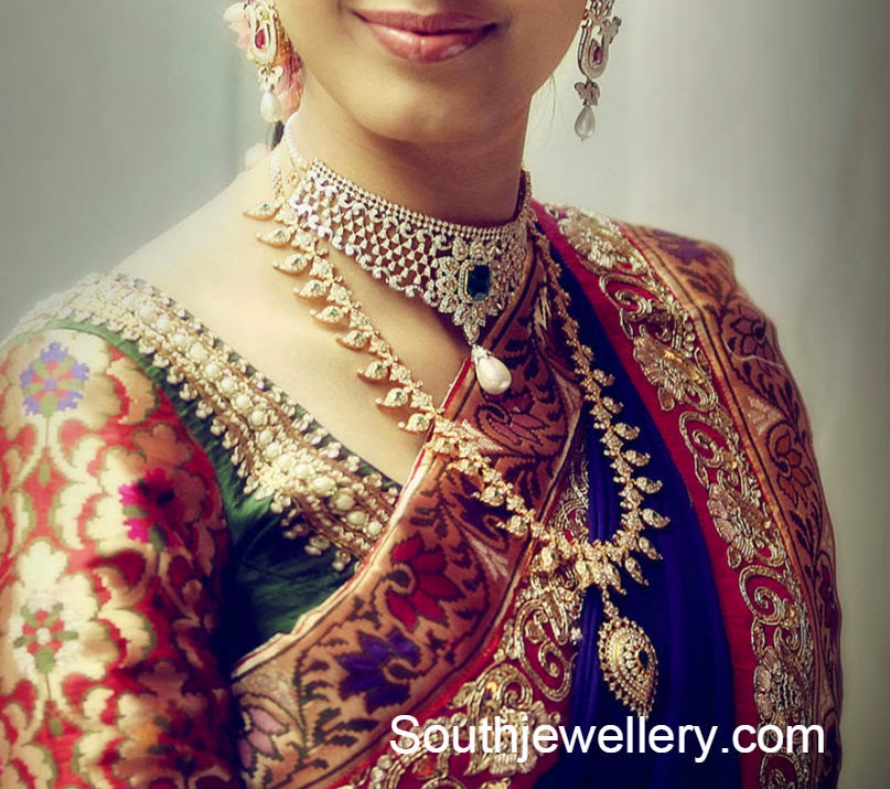 Diamond Jewellery with South Indian Bride
