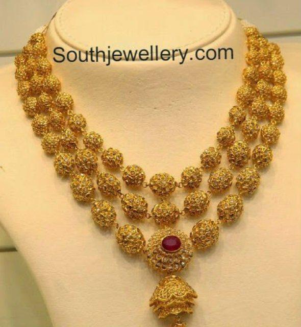 three step uncut diamond necklace