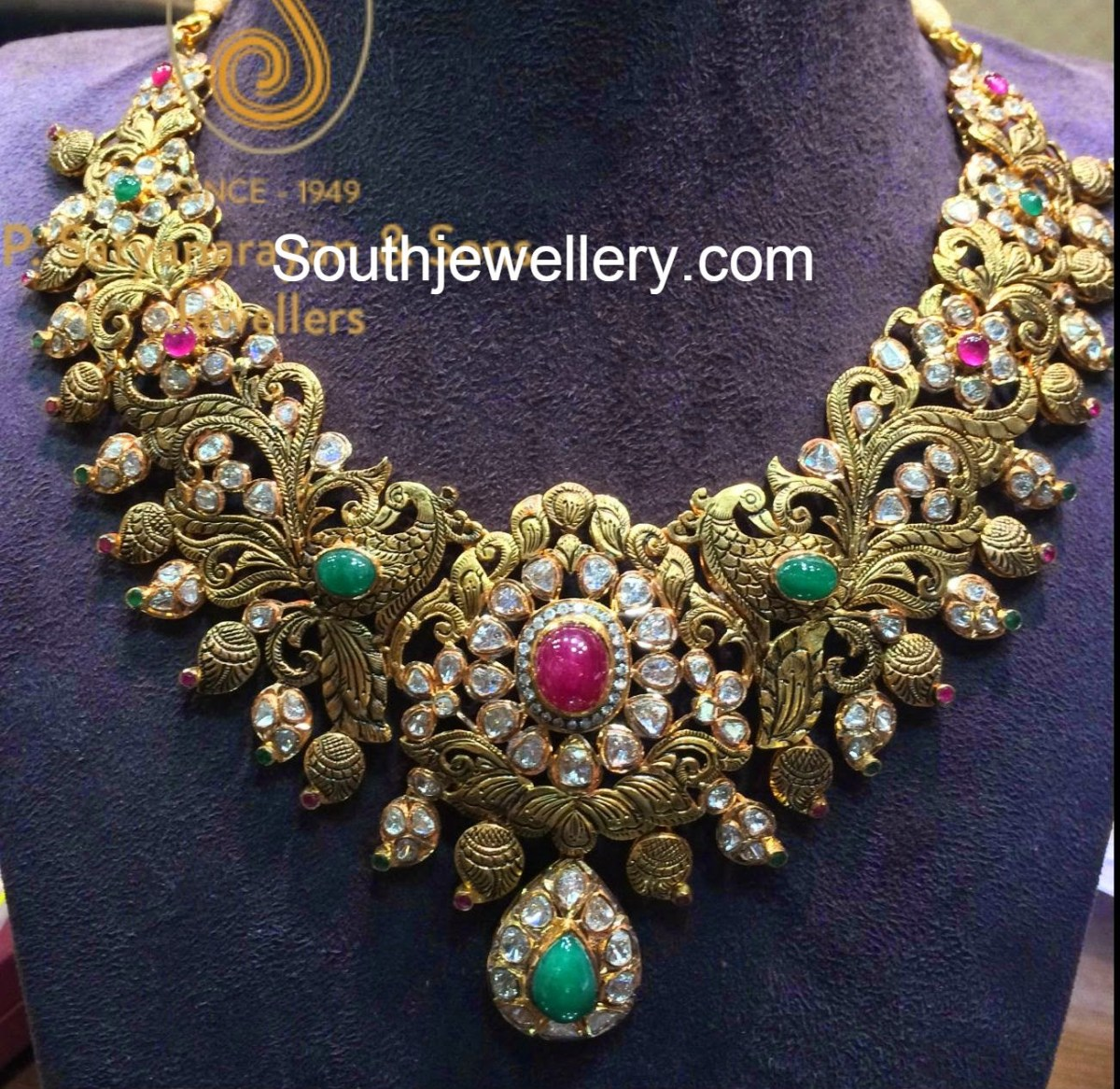 Antique Peacock Pacchi Necklace