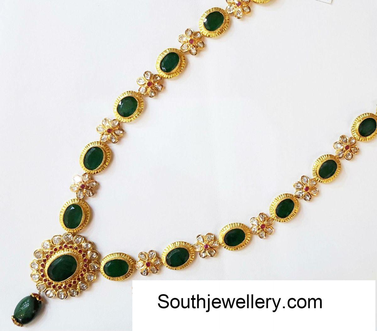 Floral Emerald Uncut Necklace