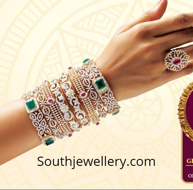 Diamond Bangle Designs by GRT Jewellers