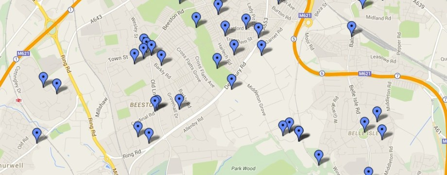Map of south Leeds organisations