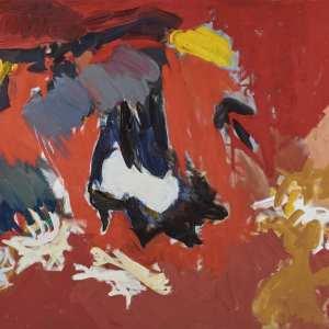 Ethel Schwabachter, Antigone I, 1958. Oil pain on canvas. 50 5/8 x 82 1/4 in. Collection of Christopher C. Schwabacher and Brenda S. Webster. Copyright Estate of Ethel Schwabacher.