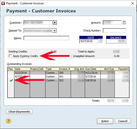 Record Multiple Invoices Paid With One Check in Quicken Southside - paid invoices