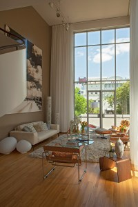 Close the two-story high sailcloth curtains, the space then becomes a thrilling private retreat.