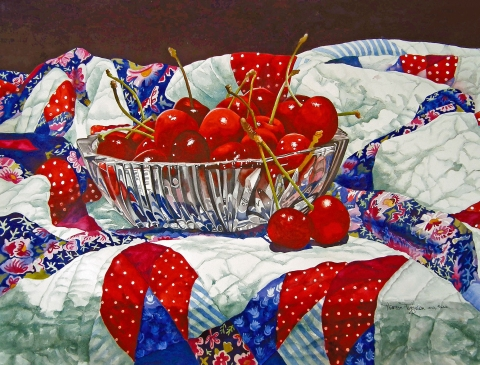 Watercolor of cherry pie and quilt