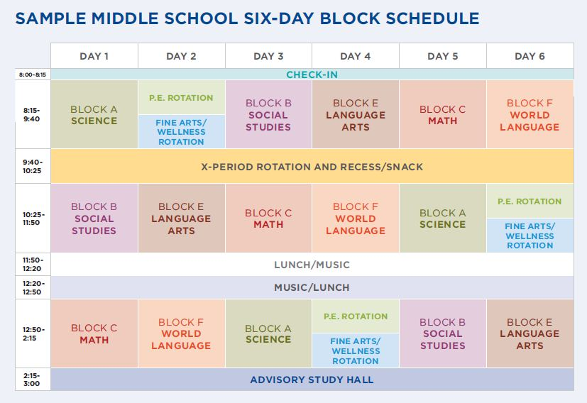 St Paul Academy and Summit School The Six-Day Schedule