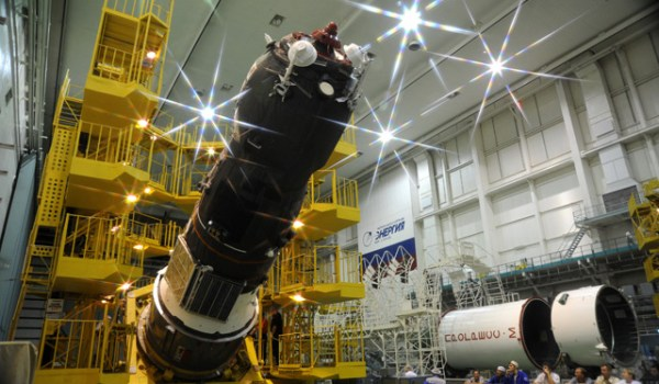 The Progress M12-M during pre-launch assembly (Source: Roscosmos).