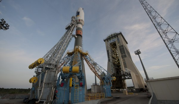 The European VS01 Soyuz on the launchpad in Kourou (Credits: ESA).