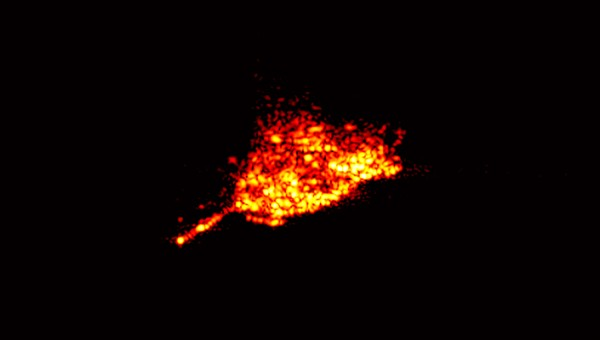 ROSAT, captured by the Tracking and Imaging RAdar (TIRA) at the Fraunhofer Institute for High Frequency Physics and Radar Techniques in Wachtberg, Bonn. This picture was taken on October 20, 2011, three days before reentry: note the antenna mast of the satellite - (Credits: Fraunhofer FHR).