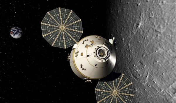A rendition of Orion in lunar orbit. (Credits: NASA).