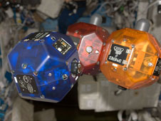SPHERES being tested aboard ISS. (Credits: NASA).