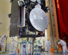 The AEHF-1 satellite under construction prior to its 2010 launch (Credits: Lockheed Martin).