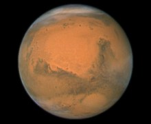 A day on Mars lasts 24 hours and 35 minutes and is called the sol (Credits: NASA).