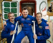 Expedition 34 supplement Chris Hadfield, Roman Romanenko, and Tom Marshburn are all avid guitarists. While Hadfield will perform with Barenaked Ladies this trip, Romanenko got his own jamming in with U2 during a 2010 tour. Marshburn is more of a classical guitarist (Credits: NASA).