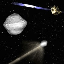 Artist's concept of the US-European Asteroid Impact and Deflection mission (Credits: ESA).