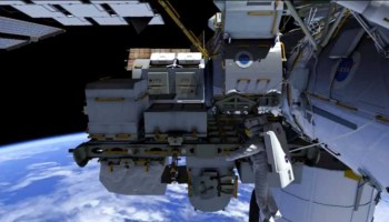 Rendering of the second EVA in the series to replace a faulty coolant loop assembly (Credits: NASA).