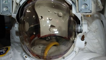 View of Luca Parmitano's water-filled EMU helmet post-EVA (Credits: NASA).