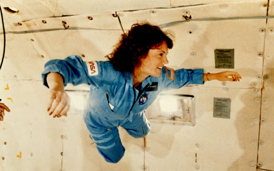 Christa McAulliffe training in the Vomit Comet