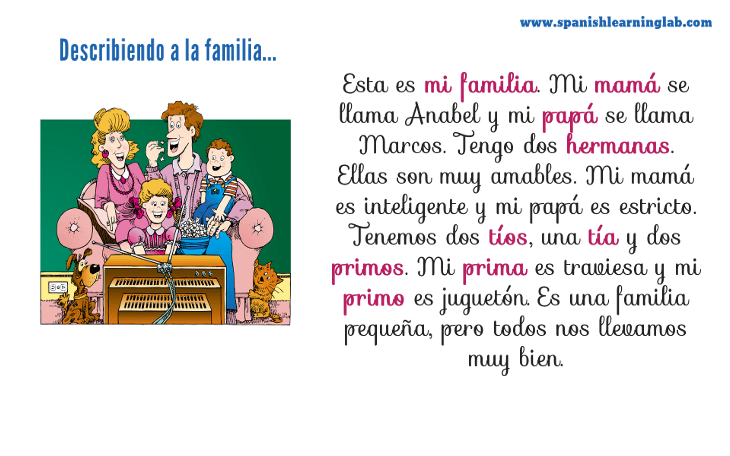 La Familia Describing Your Family In Spanish