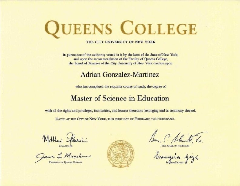 Masters\u0027 Degree in Spanish Education from Queens College
