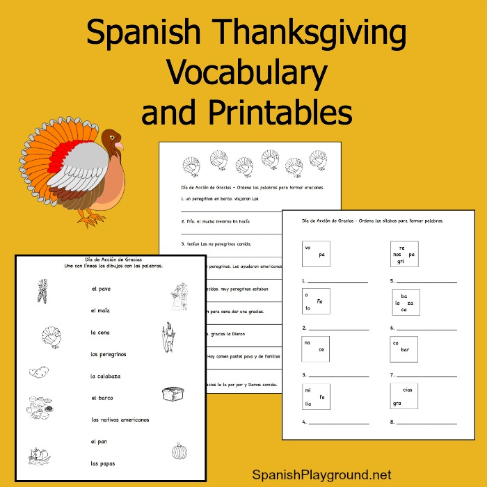 Spanish Thanksgiving Vocabulary List and Printable Activities