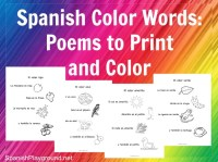 Spanish Color Words: Rhymes to Print and Color - Spanish ...