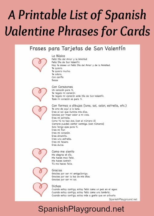Spanish Valentine Phrases for Cards - Spanish Playground