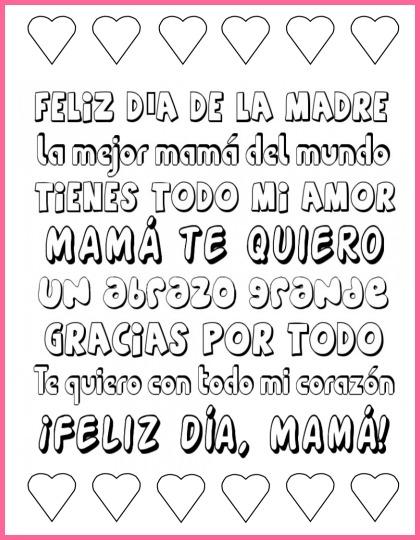 Mother\u0027s Day Printable Spanish Subway Art to Color - Spanish Playground