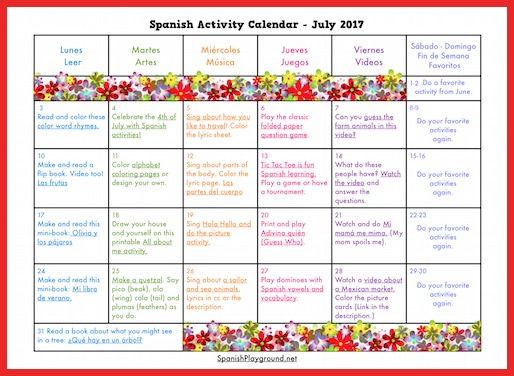 Spanish Activity Calendars for Kids - Spanish Playground