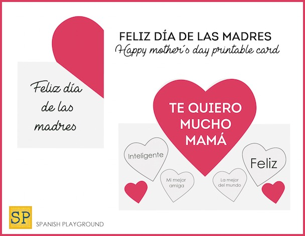 Printable Mother\u0027s Day Cards in Spanish - Spanish Playground