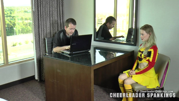 Cheerleader Stevie Rose is called into the Principal's office for a hard strapping and paddling