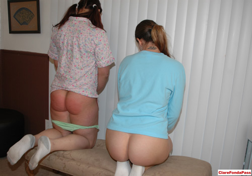Ten and Mary Jane do their corner time with their pajama bottoms still pulled down